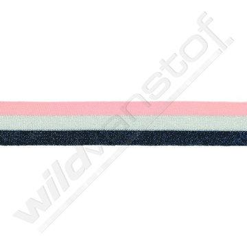 Broekstreep 30mm - Roze-zilver-marineblauw