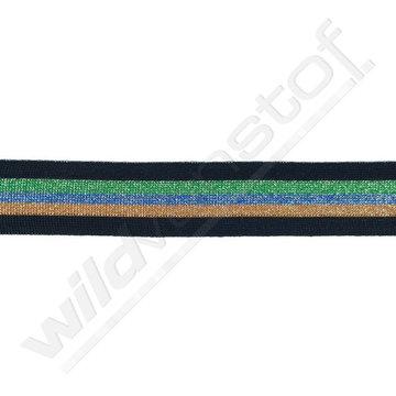 Broekstreep 30mm - Zwart-bruin-blauw-groen