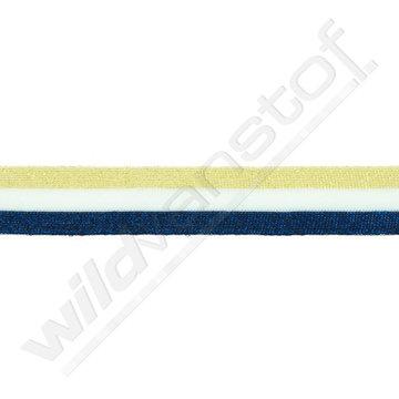 Broekstreep 30mm - Goud-wit-donkerblauw