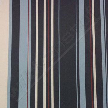 Stretchkatoen - Strepen blauw-munt-bordeaux