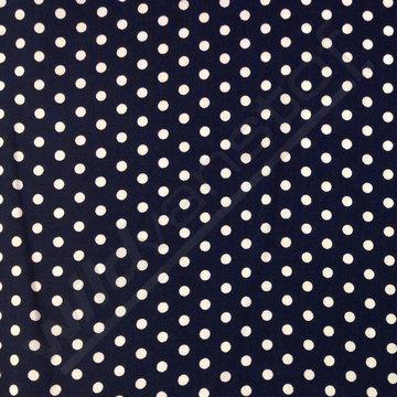 Viscose - Polkadot wit-blauw