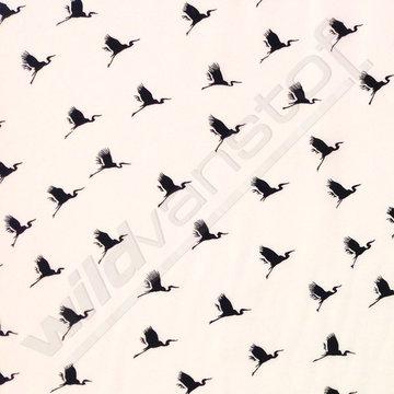 Viscose - Kraanvogel op wit