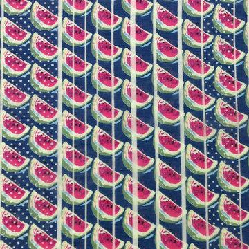 Viscose - Watermeloen blauw