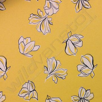 Stretchkatoen - Bloemen op geel