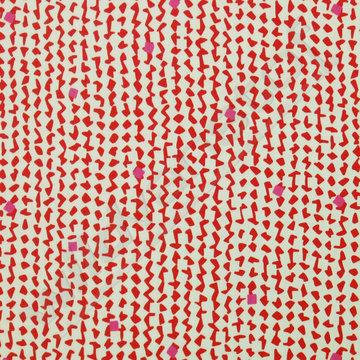 Stretchkatoen - Rode en roze figuren op ecru