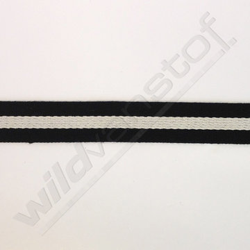 Tassenband - Strepen zwart-wit 40mm