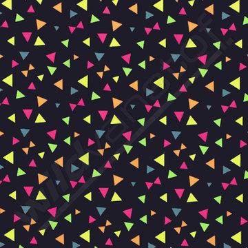 Tricot neon - Driehoekjes op marineblauw