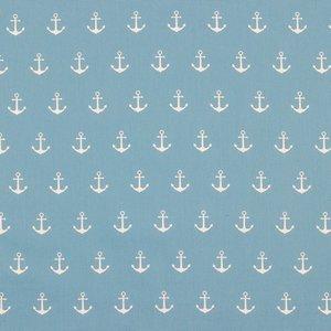 Katoen - Witte ankers op blauw