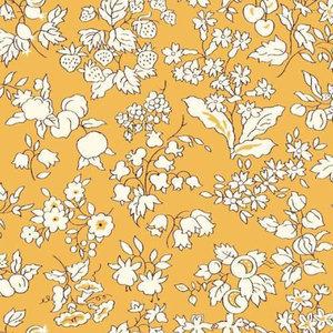 Katoen - Ecru bloempjes op warmgeel