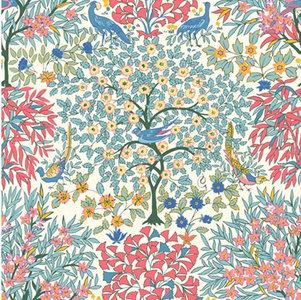 Katoen - Blauwe fazant tussen de bomen