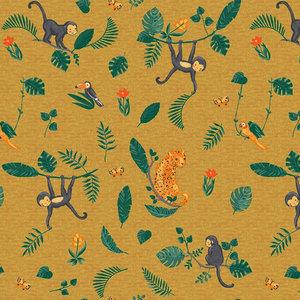 Jersey gots - Diertjes in de jungle op mosterdgeel