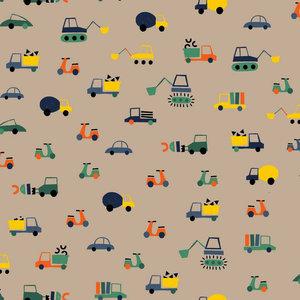 Jersey gots - Speelgoedauto's op beige