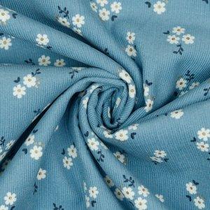 Ribfluweel - Bloempje lurex op blauw