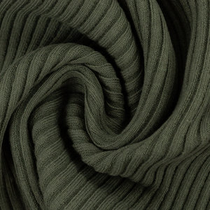 Boordstof - Rib grijsgroen