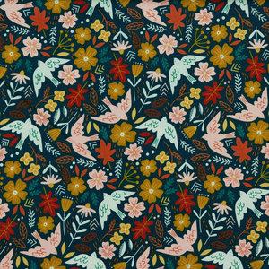 Ribfluweel - Vogels en bloemen op petrolblauw