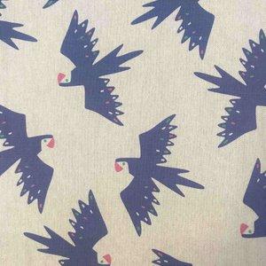 Canvas - Tropische blauwe vogel op linnenlook