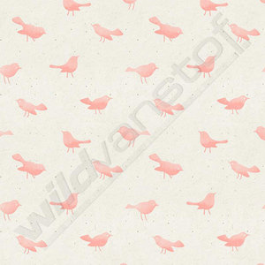 French terry - Birdy soft pink