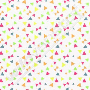 Tricot neon - Driehoekjes op wit