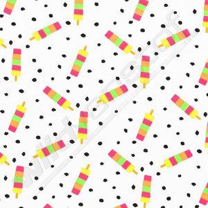Tricot neon - Ijslolly's op wit